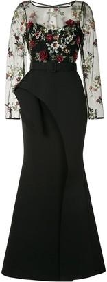 Badgley Mischka 3D ruffle skirt gown