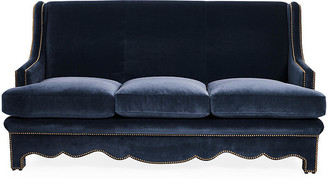 Bunny Williams Home Nailhead Sofa - Denim Velvet upholstery, denim; nailheads, bronze