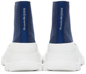 Alexander McQueen Indigo Denim Tread Slick High Sneakers