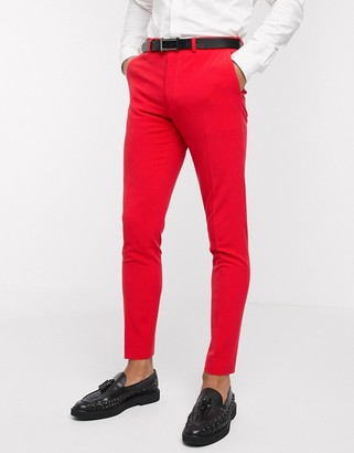 ASOS DESIGN super skinny suit trousers in bright red in four way stretch