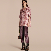 Burberry Panama Stripe Cropped Cotton Silk Satin Pyjama-style Trousers