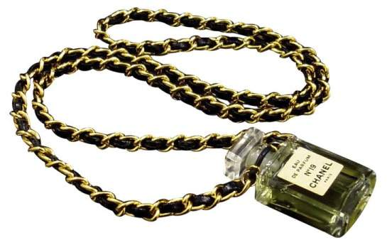 Chanel Gold Tone Metal Perfume No.19 Pendant Necklace