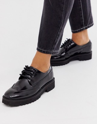 ASOS DESIGN Metaphor leather square toe chunky lace up flat shoes in black