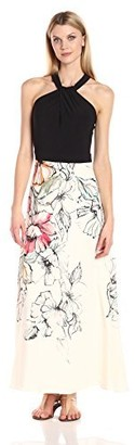 Julian Taylor Women's Flowing Flower 2fer Cross Strap Maxi Dress