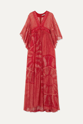Three Graces London Zandra Rhodes Gabrielle Printed Silk-chiffon Maxi Dress - Red