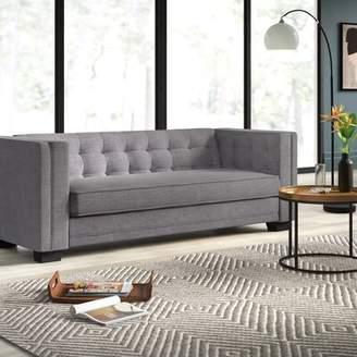 "Mercury Row Vidette Chesterfield 86"" Tuxedo Sofa Mercury Row Upholstery Color: Gray"