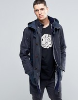 Pretty Green Parka In Waxed Cotton With Two Tone Details Detachable Hood In Navy