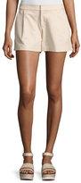 Alice + Olivia Arosa Pleated Leather Shorts, Gold