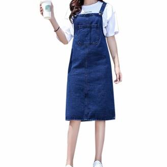 """WSLCN Women Summer Denim Skirt Girls Long Suspender Skirt Denim Dungaree Dress Pinafore Mini Overalls with Pocket Dark Blue(Long) Waist 39.4"""" (Waist XXL)"""