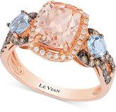 LeVian Le Vian® Chocolatier® Peach Morganite (1-1/2 ct. t.w.), Aquamarine (1/2 ct. t.w.) and Diamond (1/3 ct. t.w.) Ring in 14k Rose Gold