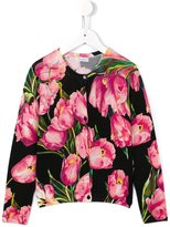 Dolce & Gabbana tulip print cardigan - kids - Virgin Wool - 10 yrs