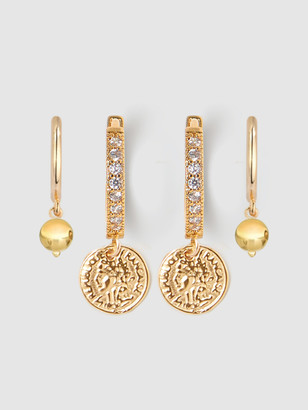 Tess + Tricia Coin & Gold Huggie Earring Set