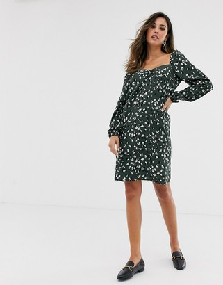 Vila leopard print square neck dress