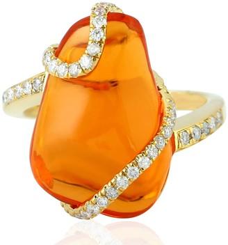 Artisan 18kt Yellow Gold Natural Diamond Fire Opal Cocktail Ring
