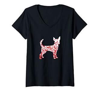Womens Chihuahua Heart Dog Valentine's Day V-Neck T-Shirt