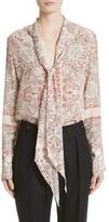 Belstaff Women's Alene Print Tie Neck Silk Blouse