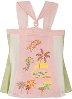 Peter Pilotto Embroidered Linen Halterneck Top - Pastel pink