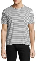Ovadia & Sons Modal Raw-Edge Striped T-Shirt, Black/White