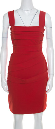 Preen by Thornton Bregazzi Ruby Red Asymmetric Bandage Detail Dew Bodycon Dress L