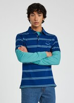 Thumbnail for your product : Paul Smith Men's Blue Stripe 'Happy' Cotton Polo Shirt