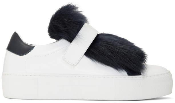 Moncler White Fur Victoire Slip-On Sneakers
