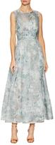 Oscar de la Renta Silk Printed Tea Length Gown