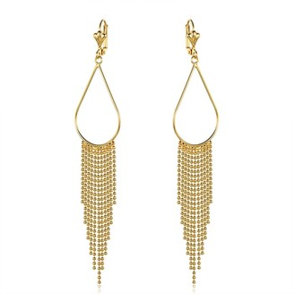 Peermont Jewelry Gold Overlay Teardrop Hoop Earrings with Beaded Chandelier Drop