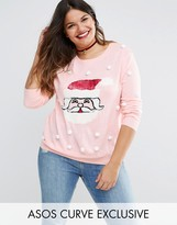 Asos Sequin Santa Holidays Sweater with Pom Poms