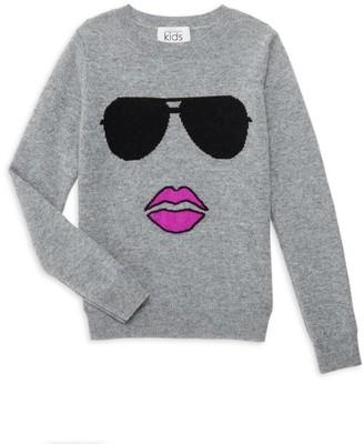 Autumn Cashmere Girl's Aviator Face Merino Wool & Cashmere Sweater