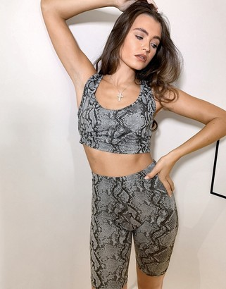 Outrageous Fortune loungewear crop tank in snake co- ord