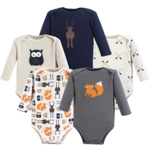 Hudson Baby Long Sleeve Bodysuits, 5-Pack, 0-24 Months