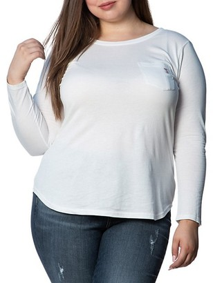 Slink Jeans, Plus Size Long-Sleeve Cotton T-Shirt