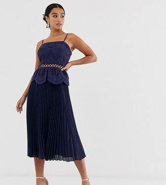 Asos DESIGN Petite broderie cami midi dress with pleated skirt-Navy