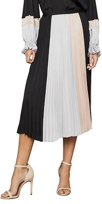 BCBGMAXAZRIA Colorblock Pleated Midi Skirt