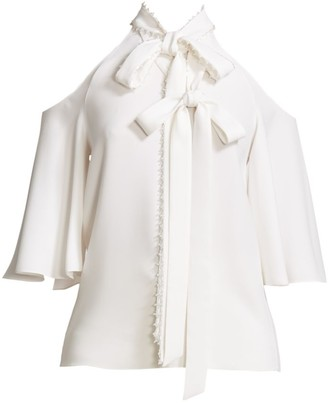 Ralph And Russo Double Bow Detail Cold Shoulder Top
