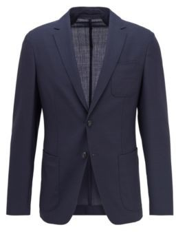 HUGO BOSS Slim-fit jacket in virgin wool with patch chest pocket