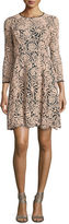 Nanette Lepore 3/4-Sleeve Lace Swing Dress