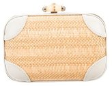 Gucci Straw and Leather Broadway Clutch