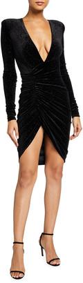 Alexandre Vauthier Sparkling Velvet Deep-V Dress