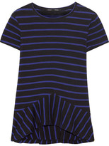 Proenza Schouler Striped Cotton-jersey Peplum Top - Royal blue