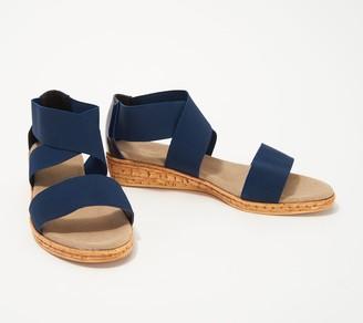 Peri Charleston Shoe Co. Stretch Cross-Band Demi Wedges