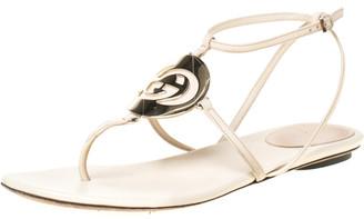 Gucci Beige Leather GG Logo Multi Strap Sandals Size 37