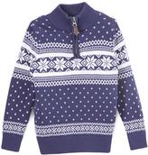 E-Land Kids Navy & White Quarter-Zip Snowflake Sweater - Toddler & Boys