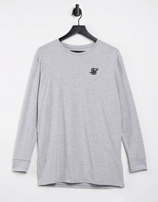 SikSilk straight hem long sleeve gym t-shirt in gray heather