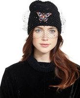 Jennifer Behr Headpieces Mariposa Voilette Cashmere Beanie Hat, Black
