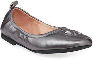 Taryn Rose Raquel Rose Weatherproof Metallic Leather Ballet Flats