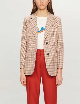 Claudie Pierlot Single-breasted checked cotton blazer
