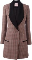 Lanvin houndstooth patterned coat - women - Cotton/Viscose/Wool - 40