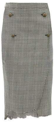 Vetements Raw-edge Prince Of Wales-checked Pencil Skirt - Womens - Grey Multi