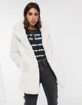 Bershka faux fur longline coat in ecru